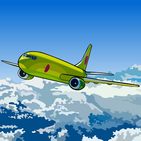 from above: green aircraft flying in the sky above the clouds Illustration