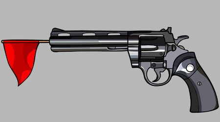 revolver: revolver with a red flag