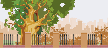 from behind: cartoon big tree behind a fence in the park