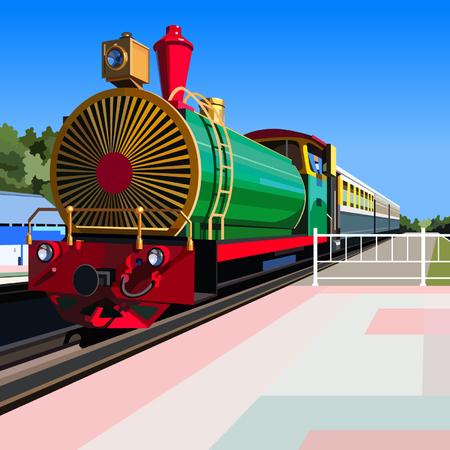 bright vintage steam locomotive standing at platform