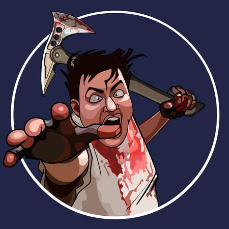 maniaco: cartone animato uomo pazzo con un martello insanguinato