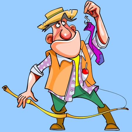 recreational fishermen: cartoon man caught with a fishing rod sock
