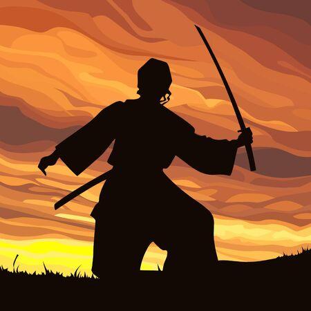 striker: silhouette striker samurai with sword at sunset
