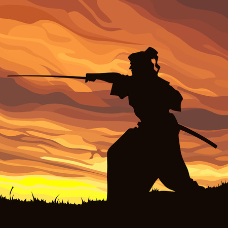 against: Samurai silhouette against the sunset Illustration