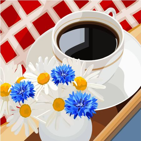 chamomile tea: cup of coffee on a table with flowers Illustration