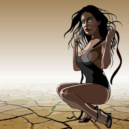 cartoon woman in a bathing suit in the desert