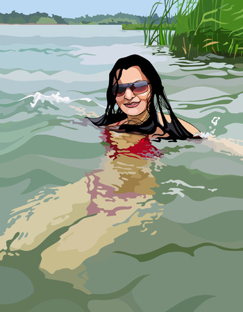 enjoyment: woman swimming in the clear lake Illustration