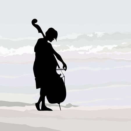against: cellist silhouette against the gray sky