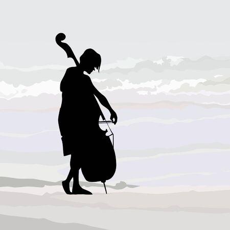cellist: cellist silhouette against the gray sky