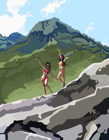 ecstatic: two women in bathing suits dance in the mountains Illustration