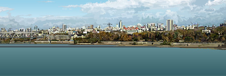 novosibirsk: panorama of the city by the river
