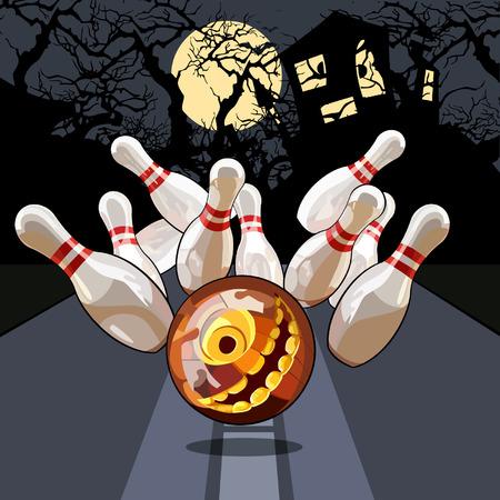 Soirée de quilles à l'Halloween Banque d'images - 45150856