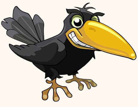 cartoon angry bird crow smiling