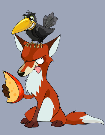 cartoon crow sits on a fox with a piece of cheese Vectores