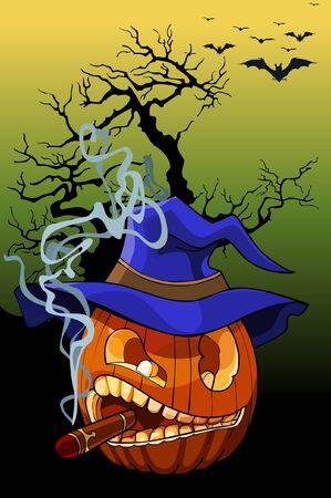 cigar cartoon: cartoon evil pumpkin smoking a cigar Illustration