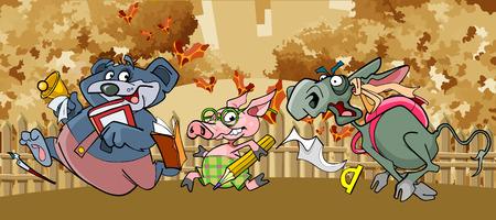 flee: cartoon funny animals flee to school in the fall