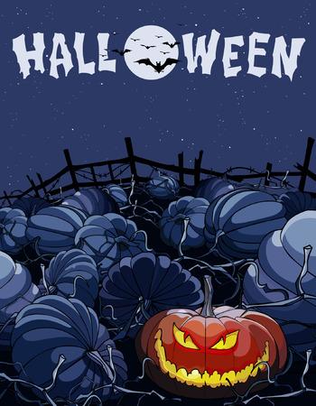 cartoon halloween night in a field with pumpkins