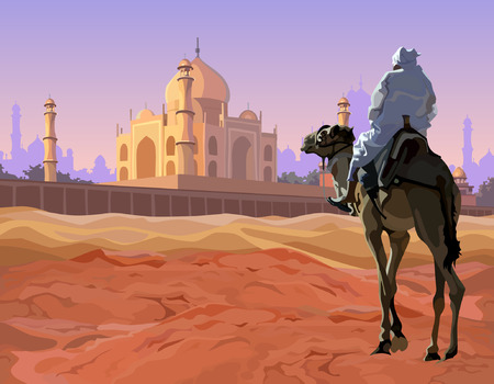 mirage: rider on a camel standing in the desert before the the temple Illustration