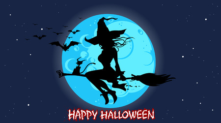 cartoon silhouette of a witch flying on a broomstick at night under the moon Ilustracja