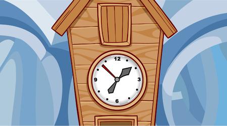 cuckoo clock: cartoon wooden cuckoo clock Illustration