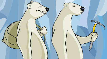 pickaxe: cartoon polar bears with a backpack and a pickaxe Illustration