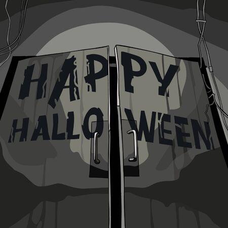 gloomy: gloomy entrance door with the inscription Halloween