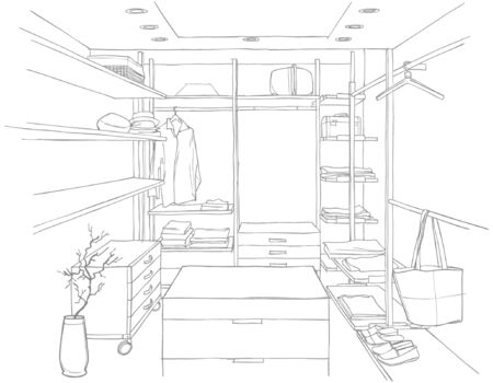 dressing room: sketch drawing of a dressing room with furniture and clothing Illustration