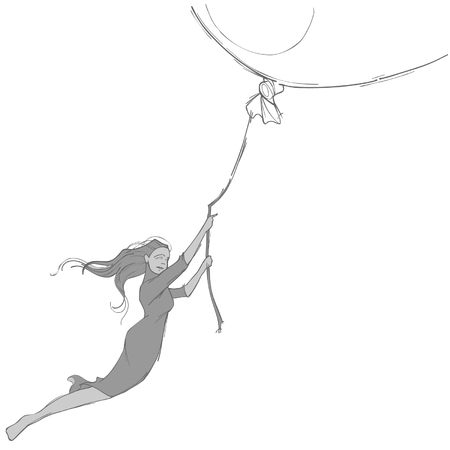 sketch of the girl flying on a big balloon Illustration