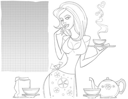 tea set: contour drawing woman with a tea set and a blank sheet