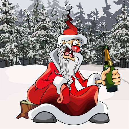 snowbanks: cartoon drunk Santa Claus with a bottle in the winter forest