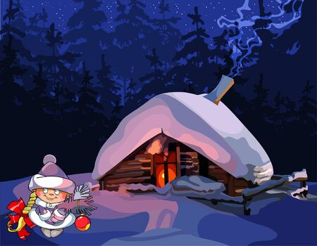 near: cartoon girl Snow Maiden stands near the hut in winter forest Illustration