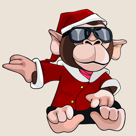 dressed: cartoon monkey dressed as Santa Claus and glasses