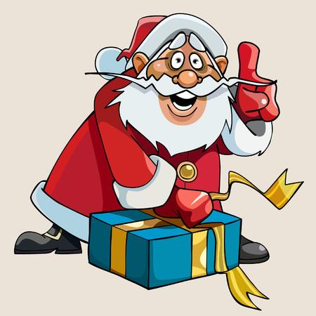 enthusiasm: cartoon Santa Claus with enthusiasm gift packs