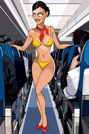 bathing suit: cartoon sexy stewardess in a bathing suit in the cabin