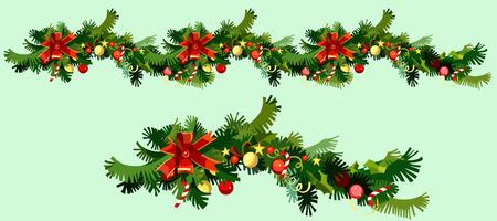 전나무 가지 및 장식품의 크리스마스 화환
