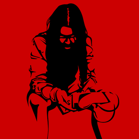 weariness: Zombie woman silhouette on a red background