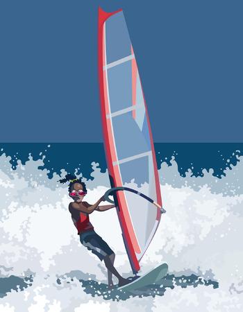 extreme sports: man has windsurfing