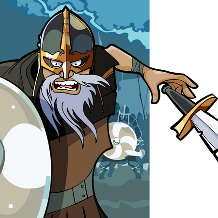 combatant: cartoon angry man Viking with a sword