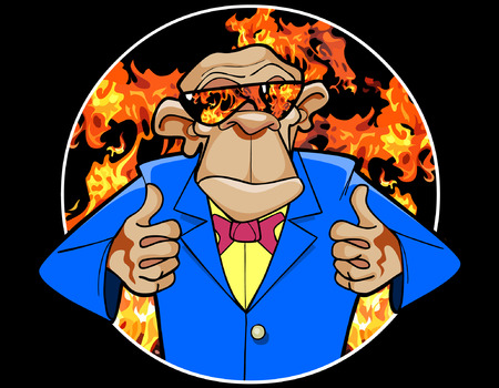 monkey suit: cartoon ape in a suit and sunglasses on the background of fire