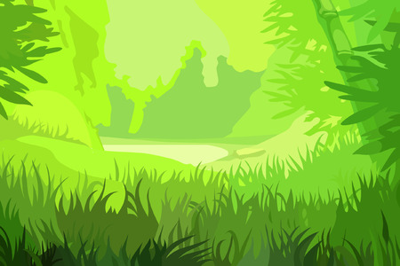 cartoon background bright green field in the bamboo forest