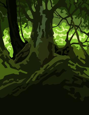 dense: cartoon background dense forest green