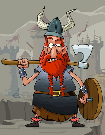 red beard: cartoon funny man Viking with a red beard and armor