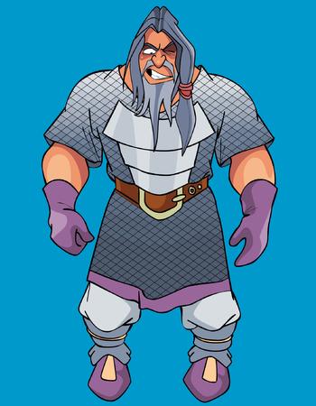 combatant: cartoon gray-haired man viking angry