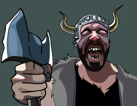 combatant: man with an ax Viking heart-rending cries