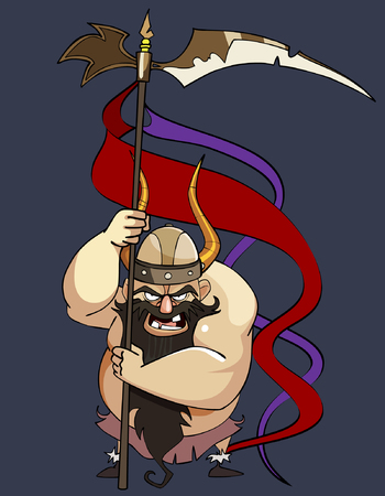 combatant: cartoon aggressive man viking with a banner