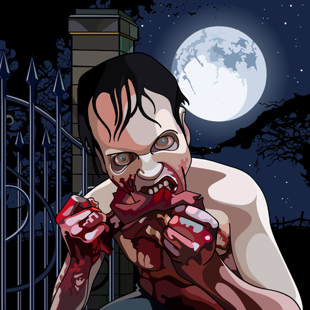 moonlit: cartoon zombie eat bloody meat on a moonlit night Illustration