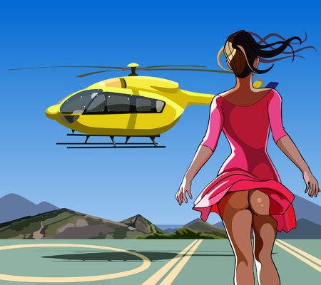 sexy skirt: sexy girl with her skirt billowing in the wind run to the helicopter Illustration