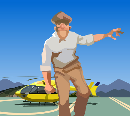 abstract cartoon man in uniform comes from helicopter
