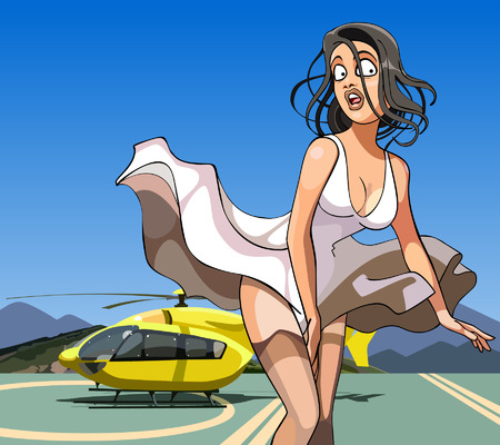 cartoon girl with her skirt billowing in the wind is about the helicopter Ilustração