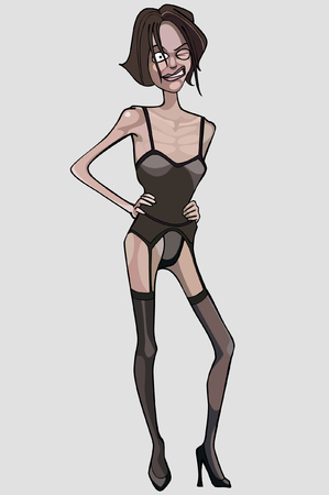anorexia: cartoon very thin woman in lingerie Illustration